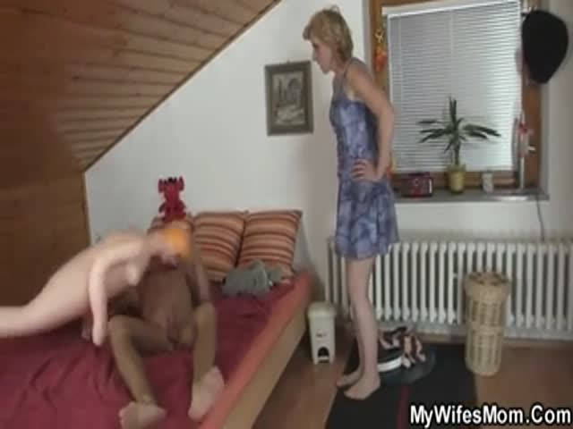 Step Son Helps Mom Stretch